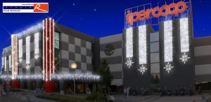 Progetto allestimento natalizio esterni centro commerciale Ariosto
