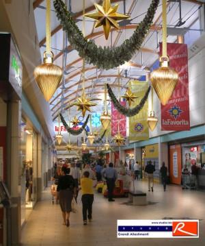 Progetto decorazioni natalizie centro commercial La Favorita